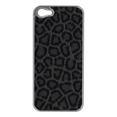 BLACK LEOPARD PRINT Apple iPhone 5 Case (Silver)