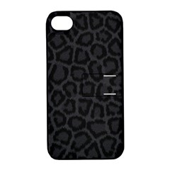 BLACK LEOPARD PRINT Apple iPhone 4/4S Hardshell Case with Stand