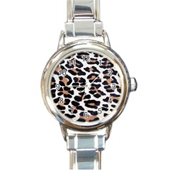 BLACK AND BROWN LEOPARD Round Italian Charm Watches