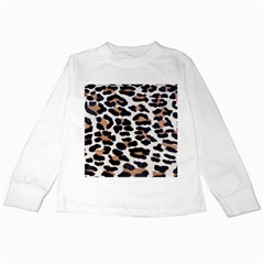 BLACK AND BROWN LEOPARD Kids Long Sleeve T-Shirts