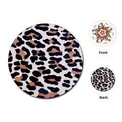 BLACK AND BROWN LEOPARD Playing Cards (Round)