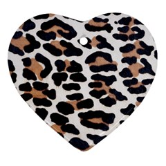 BLACK AND BROWN LEOPARD Heart Ornament (2 Sides)