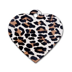 BLACK AND BROWN LEOPARD Dog Tag Heart (Two Sides)