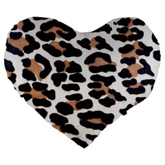 BLACK AND BROWN LEOPARD Large 19  Premium Heart Shape Cushions