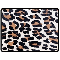 BLACK AND BROWN LEOPARD Double Sided Fleece Blanket (Large)