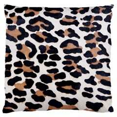 BLACK AND BROWN LEOPARD Large Flano Cushion Cases (One Side)