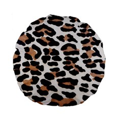 BLACK AND BROWN LEOPARD Standard 15  Premium Flano Round Cushions