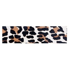 BLACK AND BROWN LEOPARD Satin Scarf (Oblong)