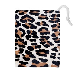 BLACK AND BROWN LEOPARD Drawstring Pouches (Extra Large)
