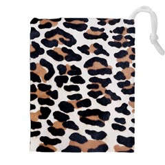 BLACK AND BROWN LEOPARD Drawstring Pouches (XXL)