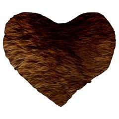 BEAR FUR Large 19  Premium Heart Shape Cushions