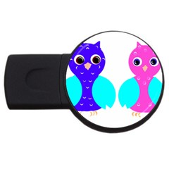 Owl couple  USB Flash Drive Round (2 GB)