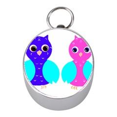 Owl couple  Mini Silver Compasses