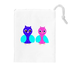 Owl couple  Drawstring Pouches (Extra Large)