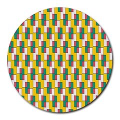 Connected Rectangles Pattern Round Mousepad
