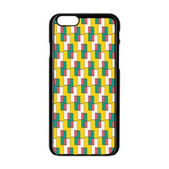 Connected rectangles pattern Apple iPhone 6 Black Enamel Case