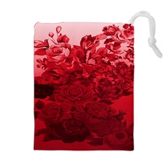 Red Tinted Roses Collage 2 Drawstring Pouches (Extra Large)