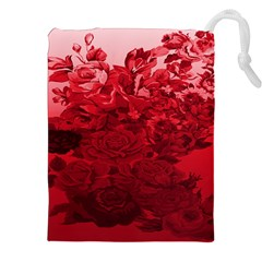Red Tinted Roses Collage 2 Drawstring Pouches (XXL)