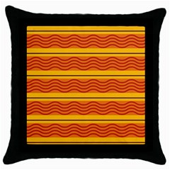 Red waves Throw Pillow Case (Black)