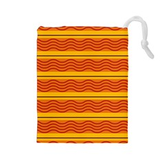 Red waves Drawstring Pouch