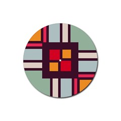 Squares and stripes  Rubber Round Coaster (4 pack)