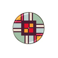 Squares and stripes  Hat Clip Ball Marker