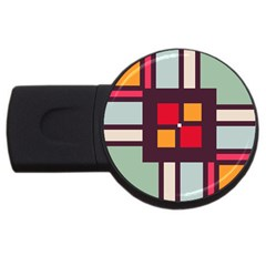 Squares and stripes  USB Flash Drive Round (4 GB)