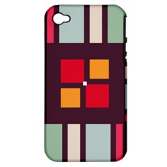 Squares and stripes  Apple iPhone 4/4S Hardshell Case (PC+Silicone)