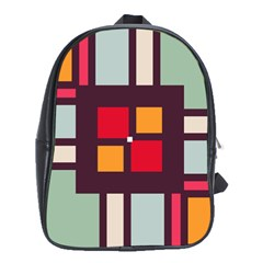 Squares and stripes  School Bag (XL)