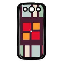 Squares and stripes  Samsung Galaxy S3 Back Case (Black)