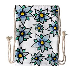 Blue flowers cute spring Drawstring Bag (Large)