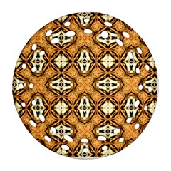 Faux Animal Print Pattern Round Filigree Ornament (2Side)