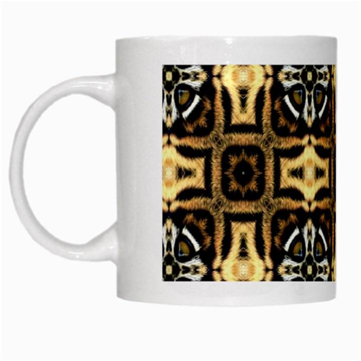 Faux Animal Print Pattern White Mugs