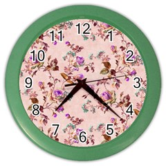 Antique Floral Pattern Color Wall Clock
