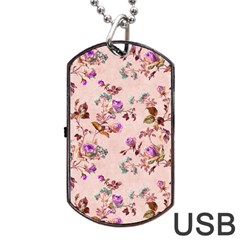 Antique Floral Pattern Dog Tag USB Flash (One Side)