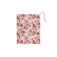 Antique Floral Pattern Drawstring Pouch (XS)