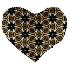 Faux Animal Print Pattern Large 19  Premium Flano Heart Shape Cushions