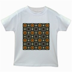 Faux Animal Print Pattern Kids White T Shirts