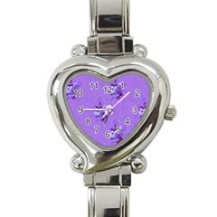 Purple Roses Pattern Heart Italian Charm Watch