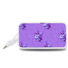 Purple Roses Pattern Portable Speaker (White)