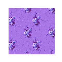 Purple Roses Pattern Small Satin Scarf (Square)