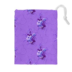 Purple Roses Pattern Drawstring Pouches (Extra Large)