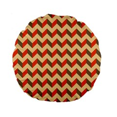 Modern Retro Chevron Patchwork Pattern  Standard 15  Premium Flano Round Cushions
