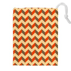 Modern Retro Chevron Patchwork Pattern  Drawstring Pouches (XXL)