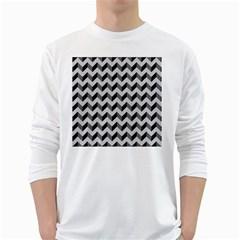 Modern Retro Chevron Patchwork Pattern  White Long Sleeve T-Shirts