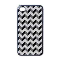 Modern Retro Chevron Patchwork Pattern  Apple iPhone 4 Case (Black)
