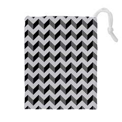 Modern Retro Chevron Patchwork Pattern  Drawstring Pouches (Extra Large)