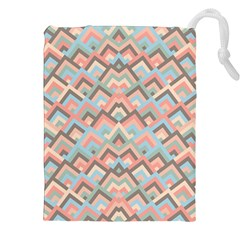 Trendy Chic Modern Chevron Pattern Drawstring Pouches (XXL)
