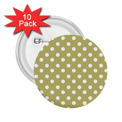Lime Green Polka Dots 2.25  Buttons (10 pack)