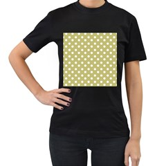 Lime Green Polka Dots Women s T Shirt (black) (two Sided)